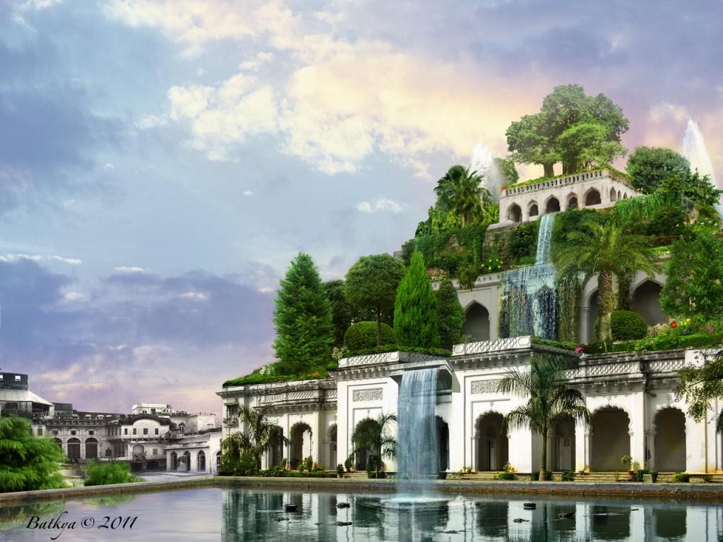 หนึ่งในภาพจำลองสวนลอยแห่งบาลิโลนที่ถูกวาดขึ้นจากจินตนาการของศิลปิน ซึ่งไม่มีใครบอกได้แน่ชัดว่า ของจริงมีสภาพเป็นอย่างไร เพราะพังทลายไปแล้ว  Credit: http://batkya.deviantart.com/art/Hanging-Gardens-of-Babylon-203309919